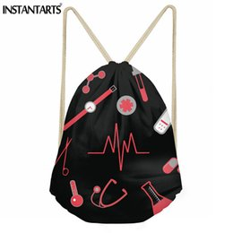 kids bags shoes Coupons - INSTANTARTS Nurse Heartbeat Pattern Women String  Backpack Casual Small Drawstring Bag e8629a3bed0ed