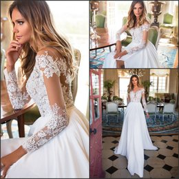 Wholesale white sheer long sleeve top - Milla Nova Romantic Wedding Dresses 2018 Newest Sheer Long Sleeve French Lace Top Summer Bridal Gowns Split Side Vestido De Novia