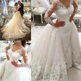 Wholesale Beaded Detachable Wedding Skirt - Delicate Beaded Lace Overskirts Wedding Dresses 2018 with Illusion Long Sleeves Detachable Train Ivory Draped Tulle Backless Bridal Gowns