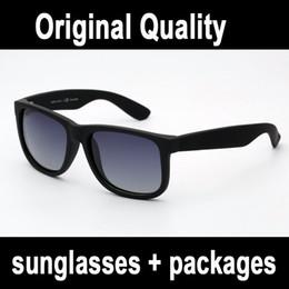 Véritable qualité marque lunettes de soleil 4165 justin modèle polarisé lentilles homme femme avec original étui en cuir paquets, accessoires boîte en argent gris ? partir de fabricateur