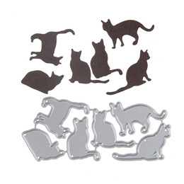 Wholesale Paint Templates - 98*44.6mm Embossing Steel Many Cat Set Cutting Dies Stencils DIY Scrapbooking Card Album Photo Painting Template Metal Craft