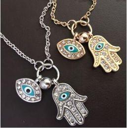 2019 bijoux kabbale hamsa Bleu Evil Eye Hamsa Fatima Palm Collier lucky turc Kabbalah pendentifs pour les femmes meilleur ami meilleur ami bijoux de mode