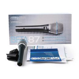 Micrófono profesional online-Beta 87A Supercardíodo Condensador Micrófono vocal Rendimiento legendario 87 A Micrófono con cable de mano profesional Karaoke portátil