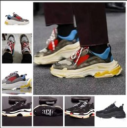 Wholesale new sneaker high heels - New 2018 Triple S Shoes Men Women Sneaker High Quality Mixed Colors Thick Heel Grandpa Dad Trainer Triple-S Casual Shoes With Elevator Shoes