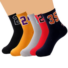 Wholesale thermal soccer - 6 Colors Men USA Professional Elite Basketball Socks Sport Digital Number Socks Fashion Thermal Winter Socks AAA722