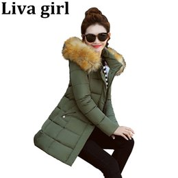 Wholesale Parka Jacket Girls - Liva girl 2017 Slim Casual Fur Collar Hooded Cotton Coat New Plus Size Parkas Winter Jacket Women Student Overcoat