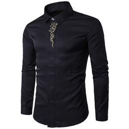 Clásica camisa negra de manga larga para hombre de negocios camisas  informales Cena ropa para hombres blusa Primavera nueva coreano Slim Boy  Tops 2018 42f72fa8dc5d3