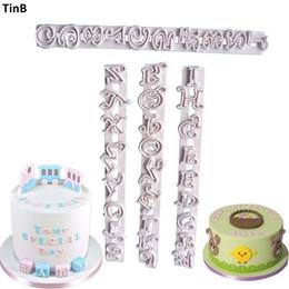 Wholesale Fondant Number Cutter - 4pc Set Number Letters Alphabet Fondant Molds Cutters Embosser Sugar Craft Moulds Cake Decorating Tools Fondant Cutter Bakeware