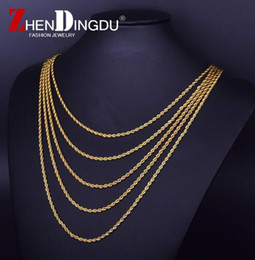 """Wholesale Real Gold Plating - 18K Real Gold Plated Stainless Steel Rope Chain Stainless steel Rapper's 3mm 20 24 30"""" Rope Chain Mens Gold Filled Rope Chain Necklace"""