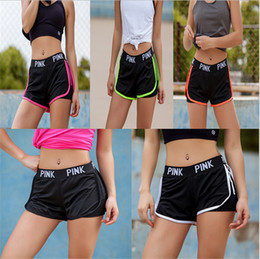 Wholesale cotton workout pants - Pink letter Yoga Sports Shorts Cotton Gym Leisure love pink Homewear Fitness running Pants leggings Short Summer pant Workout Sportswear