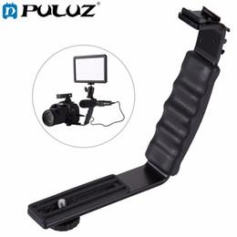 Wholesale Dslr Video Lighting - PULUZ Photography Video Flash Camera Grip L-Shape Bracket Holder With 2 Side Hot Shoe Mounts for Video Light Flash DSLR Holder