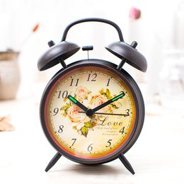 Wholesale Lazy Alarm Clock - Creative Student Bed Lazy Alarm Mute Lamp Night Watch Strap Metal Bell Clock Decorative Living Room Bedroom Desktop Watches