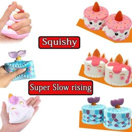 Wholesale unicorn soft toys - 7 Styles Super Soft Slow Rising Unicorn Whale Mermaid Tail Cake Squishy Deer Jumbo Toys Squeeze Phone Charms Anti Stress Gifts CCA9379 20pcs