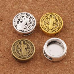 2019 armbänder 3 Farben Runde Slider Perlen Saint Benedict von Nursia Patron Gegen Böse Medaille Bead Fit Belt Wrist Strap Armbänder L1793 günstig armbänder