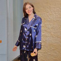 4db075070d Silk Pajama Women s Spring Leaf Long Sleeve Pants Tracksuit Set