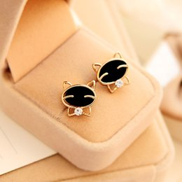 Boucles d'oreilles chat noir en Ligne-Femmes Funny 1Pair Black Smile Cat Boucles d'oreille de haute qualité à haute teneur 10.3