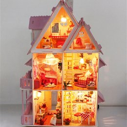 Wholesale 3d Wooden Puzzle House - Doll house with furniture Handmade wooden house diy birthday gifts 3D puzzles for adults and lovers dream children