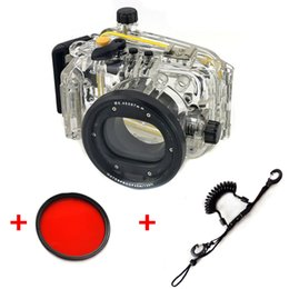 Wholesale Quick Release Lanyard - 40M 130ft Underwater Waterproof Housing Diving Camera Case for Canon S110 Camera With Red filter and Quick Release Coil Lanyard