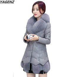 Wholesale Fox Fur Strips - Winter Jackets Coats Women New Fashion Imitation Fox Fur Collar Leather Jacket Slim Large Size Warm Down Cotton Leather Coat 665