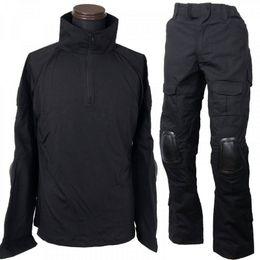 Trajes de combate negros online-CQC Combatiente táctico del ejército BDU Uniforme negro camisa pantalones conjunto al aire libre Paintball ropa traje de caza