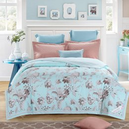 Wholesale Air Conditioned Bedding Quilts - soft feeling cotton light blue floral air-condition quilt 150*200cm 200*230cm thin comforter bedding