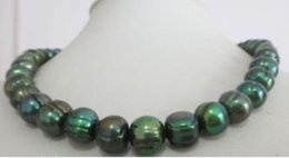 2019 tahitian schwarze perlen barock natürliche 11-12mm Tahitian Barockpfau schwarze Perlenkette rabatt tahitian schwarze perlen barock