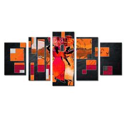 Pote de imagens de pintura on-line-5 Peças Figuras Abstratas Da Arte Da Parede Da Lona Pintura Para Sala de estar Decoração Retro Mulheres com Cerâmica Pote Imprimir Imagem HD