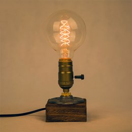 Wholesale Industrial Tables Vintage - Industrial Vintage Edison Wooden Base Socket E27 Desk Light Home Decor table lamp