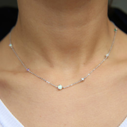 station chain Coupons - 100% 925 sterling silver chain necklaces top quality prong setting cz opal Gem MINIMAL long chain cz station necklace jewelry