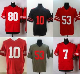 Wholesale Mens American Football Jerseys - Cheap Mens American Football #10 Red Jersey Wholesale Black White #53 #56 American Football Game Elite Limited Jerseys Ship by ePacket DHL