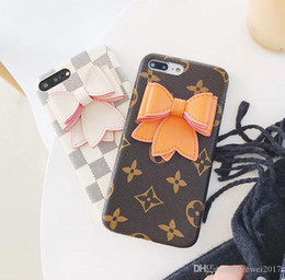 Wholesale Bowknot Case - New luxury brand square plaid printed pattern 3D Bowknot phone case for iphone 7 7plus 8 8plus hard back cover for iphone 6S 6 6plus
