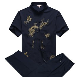 chinese dragons art Promo Codes - Traditional Chinese Clothing Men Short Sleeve Martial Arts Kung Fu Uniform Chinese Tang Suit with Dragon Pattern Taichi Clothing