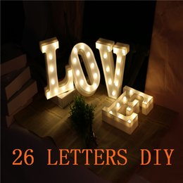 Wholesale White Marquees - Premium 26 Letters White LED Night Light Marquee Sign Alphabet Lamp For Birthday Wedding Party Bedroom Wall Hanging Decor Gift