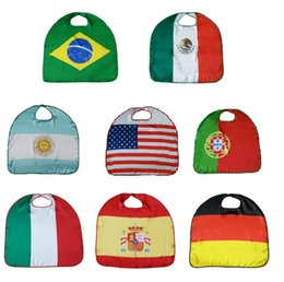 Wholesale Party Supply Usa - World Cup Flags USA Italy Germany National Flag Cloak Capes Cosplay Party Celebrate Decoration Party Supplies I191