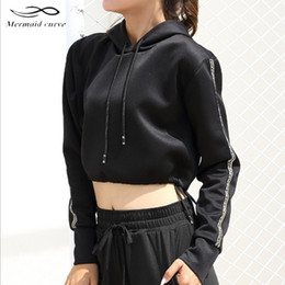 Wholesale cute sweaters for women - Mermaid Curve Cropped Sweatshirt Long Sleeve Sweater Slouchy Running Hoodies Cute Workout Sports Jerseys For Women Gym Clothes