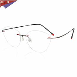 862f042b30 No Screw Weld Design Rimless Titanium alloy Cat Eye Clear Glasses Frame  Prescription Eyeglasses Women Optical Frame Eyewear
