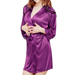 Wholesale long satin nightgowns women - Fancy Autumn Women Nightgown Sleepshirts Satin Lace Patchwork Long Sleeve Soft Night Dress Sexy Lingerie Sleepwear Pijama Y1