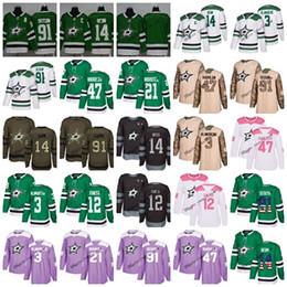 Wholesale hockey dallas - 2018 Dallas Stars Custom USA Men Lady kid 100th Faksa Seguin Jamie Benn John Klingberg Home Away Purple Green Black Pink Hockey Jerseys