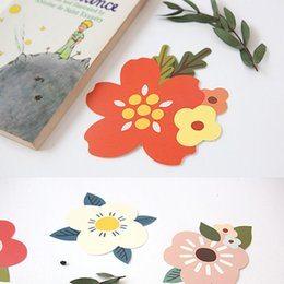Wholesale Gift Card Sticker - 1 seal sticker+1 card+1 envelope set flower greeting card thank you card birthday christmas gift envelope stationery