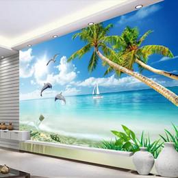 Pittura ad albero blu cielo online-Cielo blu e nuvole bianche albero di cocco paesaggio marino carta da parati carta da parati soggiorno divano TV sfondo muro dipinto 3D stereo spiaggia delfino
