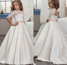 Wholesale Rhinestone Appliques For Pageant Dresses - 2018 Princess White Lace Flower Girl Dresses New Sheer Long Sleeves First Communion Birthday Party Dresses Girls Pageant Dress For Weddings