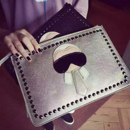personalized handbags Coupons - Personalized Cartoon design fashion Lafayette rivets envelope bag clutch purse handbags casual shoulder bag women handbag