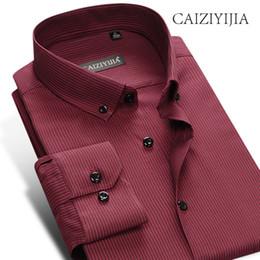 290639069a CAIZIYIJIA 2018 Vintage Mens Camisa de vestir de alta calidad de manga  larga Camisa Masculina marca ropa camisa arrugada de rayas
