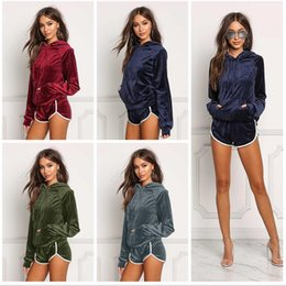 Wholesale Womens Lace Suits - Women Fashion Sportswear Autumn Gold Velvet Tracksuit Womens Two Piece Set Hooded Hoodies +short Pants Casual Sporting Suits