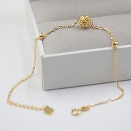 0f97f027585c Nuevo Pure Au750 18K oro amarillo cadena mujeres O Link hueco bola pulsera  7.6 pulgadas cadena de bolas de oro de 18k baratos