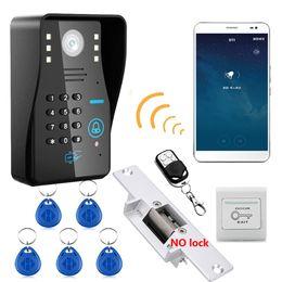 Porta telefônica porta elétrica on-line-Wi-fi Sem Fio RFID Senha Vídeo Porteiro Sistema de Intercomunicação campainha + Sistema de Controle de Acesso + NO Fechadura Da Porta Elétrica Greve