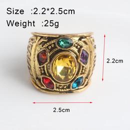 2019 anéis de moda âmbar Filme SC As 3 Infinito Guerra Thanos Infinito pedras Anéis De Ouro Thanos Infinito Poder Gauntlet Cristal Cosplay Anel Homens