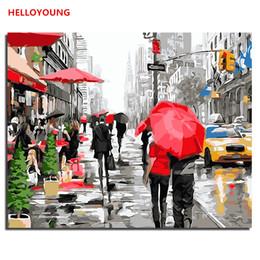 chinesische ölgemälde Rabatt HALLOYOUNG DIY Handgemaltes Ölgemälde Regen Zeigen Digitale Malerei by zahlen ölgemälde chinesische rollbilder Wohnkultur