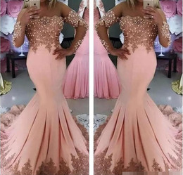 Wholesale Long Train Silk Robe - Long Sleeves Sexy Mermaid Light Pink Evening Dresses Sheer Neck Pearls Ladies Formal Party Gowns Prom Dress robe de soiree 2018