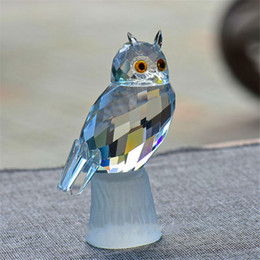 Wholesale Souvenirs Marriage - X'mas Gifts Crystal Owl Figurines Paperweight Craft Art Toy & Collection Car Ornaments Souvenir Home Wedding Decor
